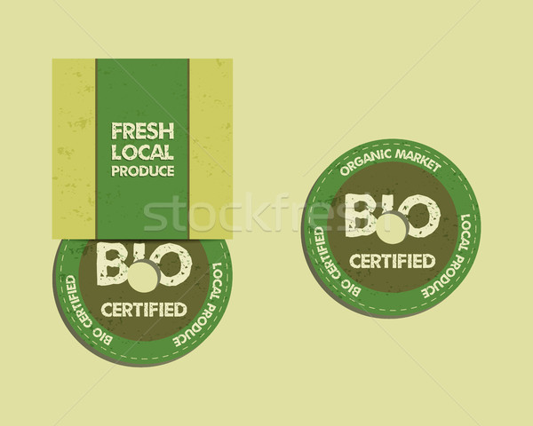 Stylish Farm Fresh CD and DVD disc templates with box, ecology logo. Organic, eco, bio. Mock up desi Stock photo © JeksonGraphics