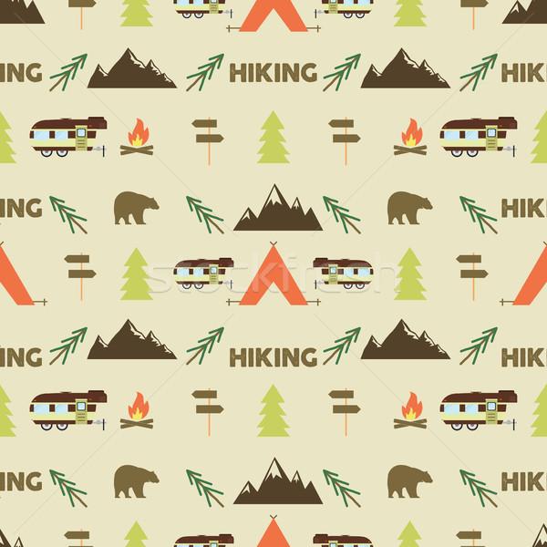 Wandelen parcours behang ontwerp uitrusting Stockfoto © JeksonGraphics