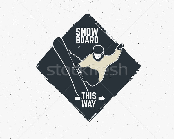 滑雪 貼紙 復古 山 探險者 標籤 商業照片 © JeksonGraphics