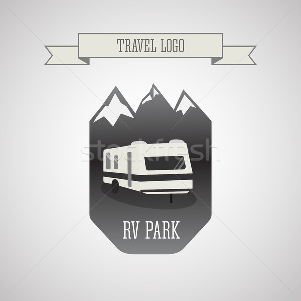 RV and caravan park logo, badges. Outdoor theme. Grayscale design  Stock photo © JeksonGraphics