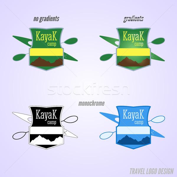 Kayak camp badge conception de logo expédition étiquette Photo stock © JeksonGraphics