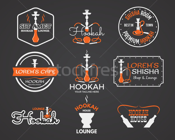 Hookah labels, badges and design elements collection. Vintage shisha logo. Lounge cafe emblem. Arabi Stock photo © JeksonGraphics
