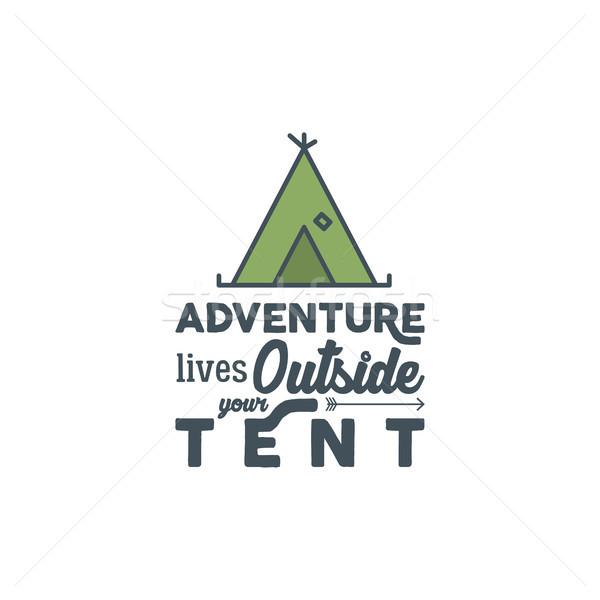 Camping logo typografie gezegde reizen communie Stockfoto © JeksonGraphics