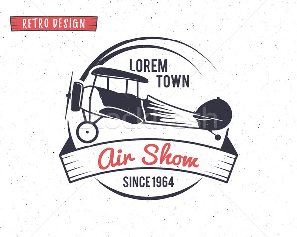 Airshow stamp. Biplane label. Retro Airplane badges, design elements. Vintage prints for t shirt. Av Stock photo © JeksonGraphics