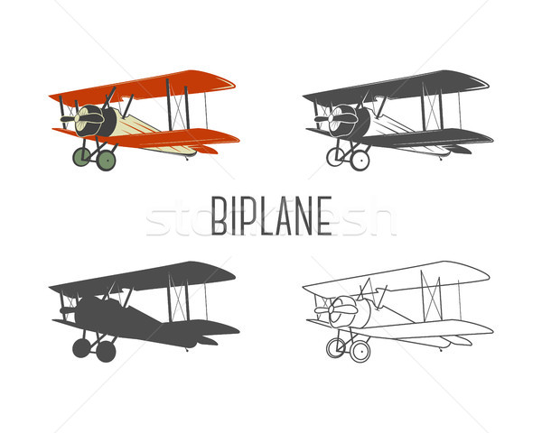 Set of vintage aircraft design elements  Retro Biplanes in