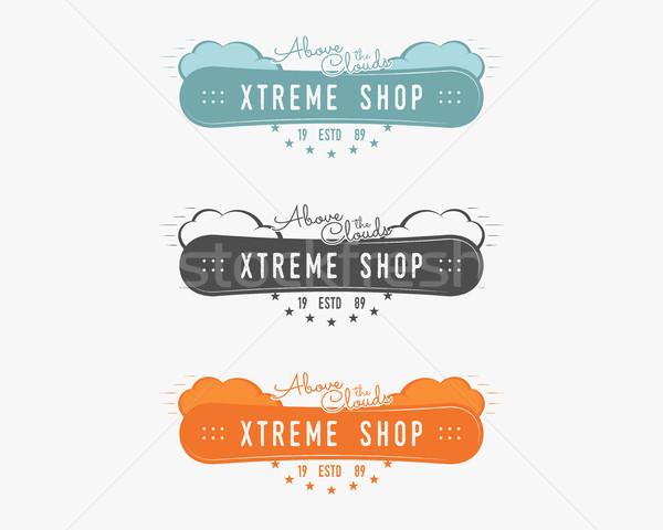 Establecer snowboard extrema tienda logo etiqueta Foto stock © JeksonGraphics