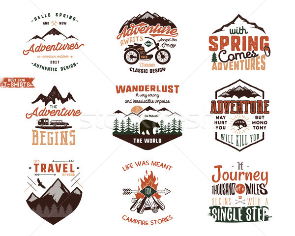Set of Vintage adventure tee shirts designs. Hand drawn travel labels. Mountain explorer, wanderlust Stock photo © JeksonGraphics