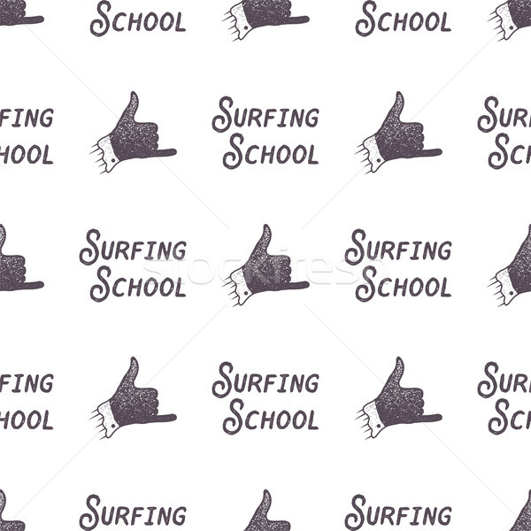 Surfing school old style pattern design. Summer seamless wallpaper with surfer sign - shaka and typo Stock photo © JeksonGraphics