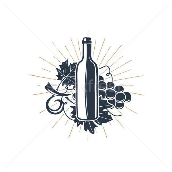 Black wine bottle and vine with sunbursts for vineyard logo, winery badge, wine club, bar, cafe or r Stock photo © JeksonGraphics