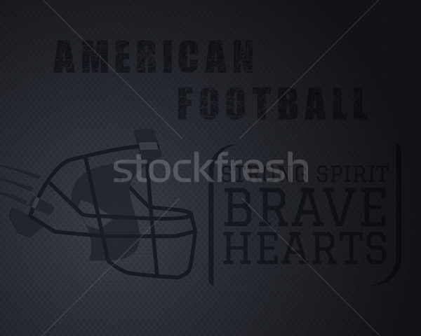Modern unique american football poster with motivation quote  strong spirit brave hearts - on dotted Stock photo © JeksonGraphics