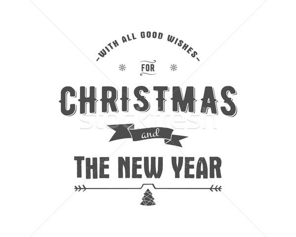 Vidám karácsony kívánságok vektor clipart ünnepek Stock fotó © JeksonGraphics