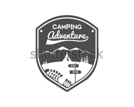 Stockfoto: Camping · avontuur · label · berg · winter · kamp