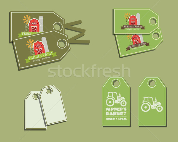Set of organic labels - stickers for natural farm products. Ecology theme. Green eco design. Vector Stock photo © JeksonGraphics