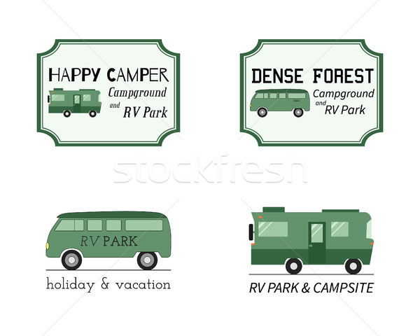 Outdoor Activity Travel Logo Vintage Labels design template. RV, forest holiday park, caravan. Campi Stock photo © JeksonGraphics