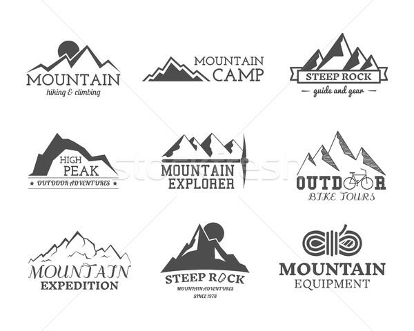 Establecer monocromo aire libre aventura explorador campamento Foto stock © JeksonGraphics