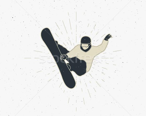 Stockfoto: Snowboarden · sticker · vintage · berg · ontdekkingsreiziger · label