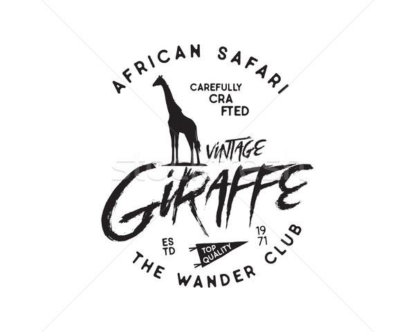 Vintage badge giraffe silhouet Stockfoto © JeksonGraphics
