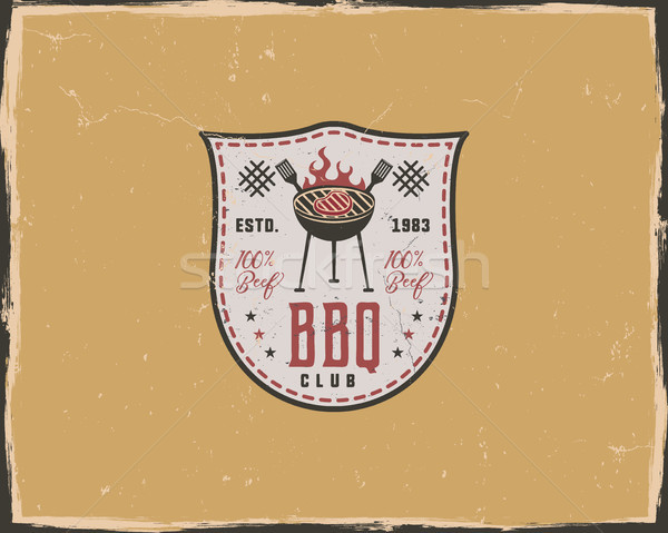 BBQ club typography poster template in retro old style. Offset and letterpress design. Letter press  Stock photo © JeksonGraphics