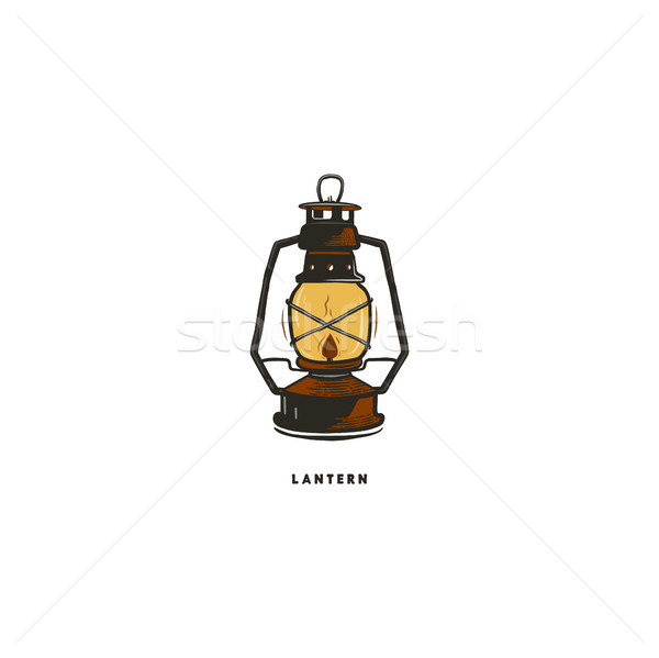 Vintage hand drawn lantern concept. Perfect for logo design, badge, camping labels. Retro colors. Sy Stock photo © JeksonGraphics