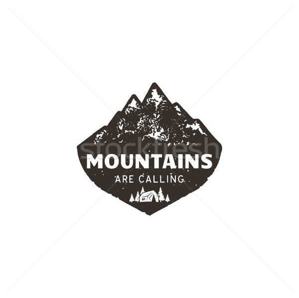 Vintage hand drawn mountain logo. The great outdoor patch. Mountains are calling sign quote. Monochr Stock photo © JeksonGraphics