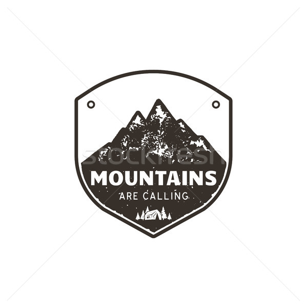Vintage hand drawn mountains emblem. The great outdoor patch. Mountains are calling sign quote. Mono Stock photo © JeksonGraphics