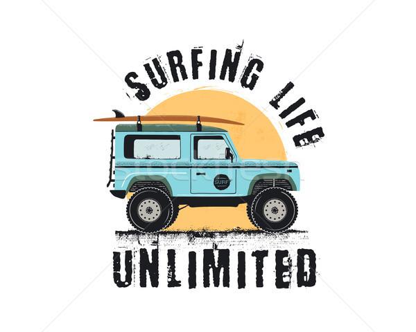 Vintage surfen embleem retro auto surfen Stockfoto © JeksonGraphics