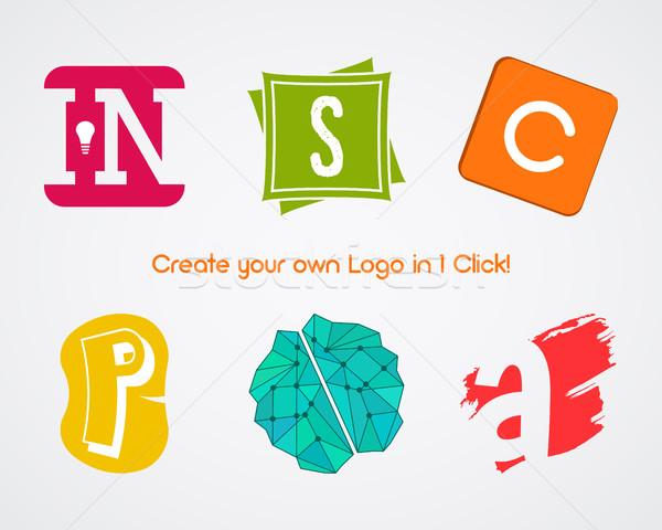 Ayarlamak vektör soyut yaratıcı logo tasarımı elemanları Stok fotoğraf © JeksonGraphics