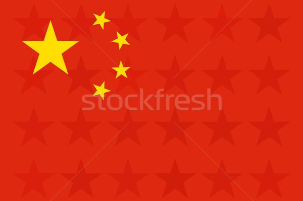 Kína zászló eredeti arány színek csillagok Stock fotó © JeksonGraphics