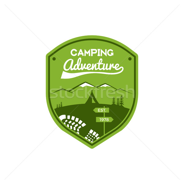 Camping Adventure Label. Vintage Mountain winter camp explorer badge. Outdoor logo design. Travel st Stock photo © JeksonGraphics