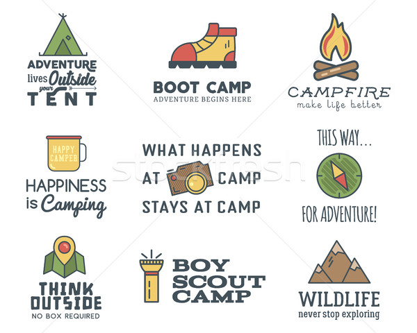 Camping logo design set with typography and travel elements - compass, mountain, tent. With adventur Stock photo © JeksonGraphics