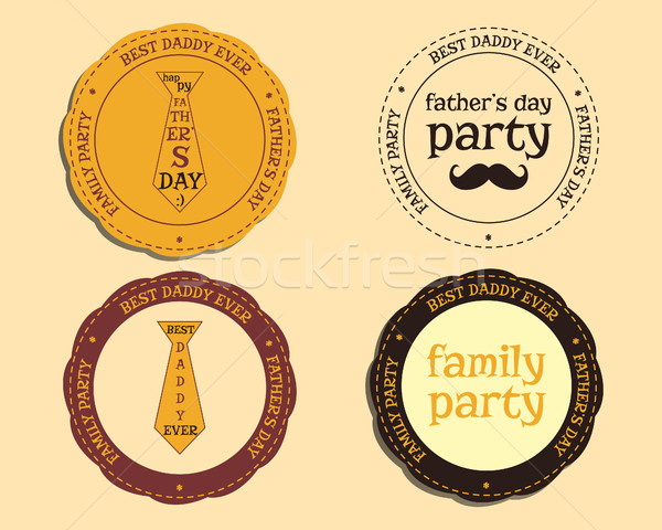 Happy Fathers Day logo and badge template with mustache and tie. Best for thematic party. Isolated o Stock photo © JeksonGraphics