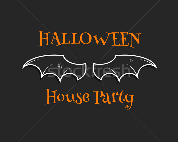 Stylish unique bat background. Happy Halloween house party card. Poster and banner. Flat dark design Stock photo © JeksonGraphics