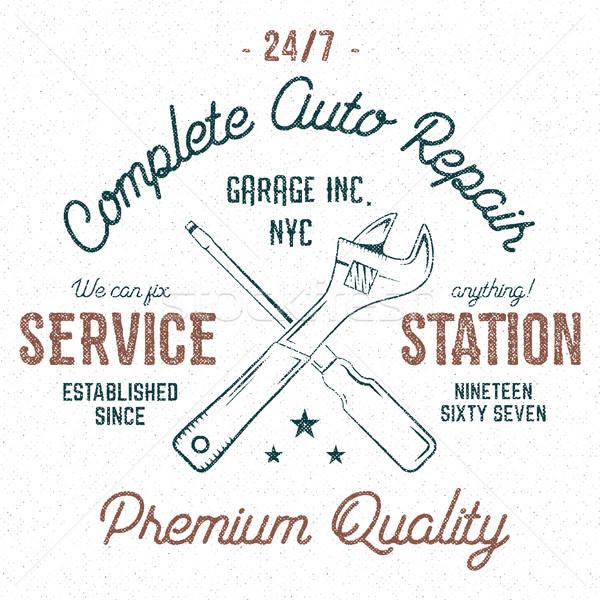 Service station vintage label, tee design graphics, complete auto repair service typography print. C Stock photo © JeksonGraphics