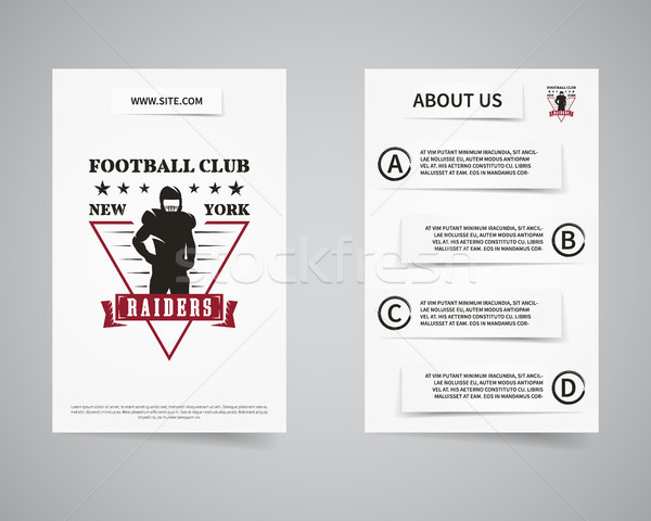 American football raiders team back and front flyer template design. Usa Sport brand identity letter Stock photo © JeksonGraphics
