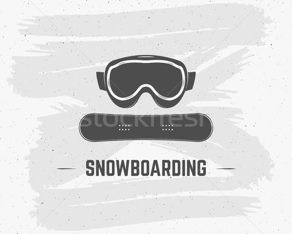 Snowboard extrême logo étiquette modèle hiver Photo stock © JeksonGraphics