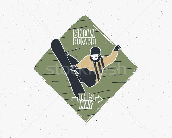 Snowboarding sticker. Vintage mountain explorer label. Outdoor adventure logo design Travel hand dra Stock photo © JeksonGraphics