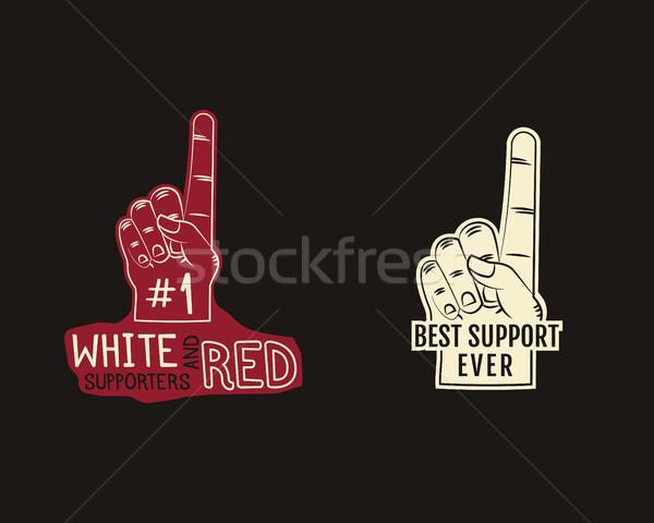 Foam finger supporters american football element - fan finger. College, university team fans symbol  Stock photo © JeksonGraphics