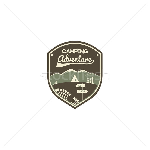 Camping adventure label. Mountain winter camp badge. Outdoor explorer logo design. Travel monochrome Stock photo © JeksonGraphics