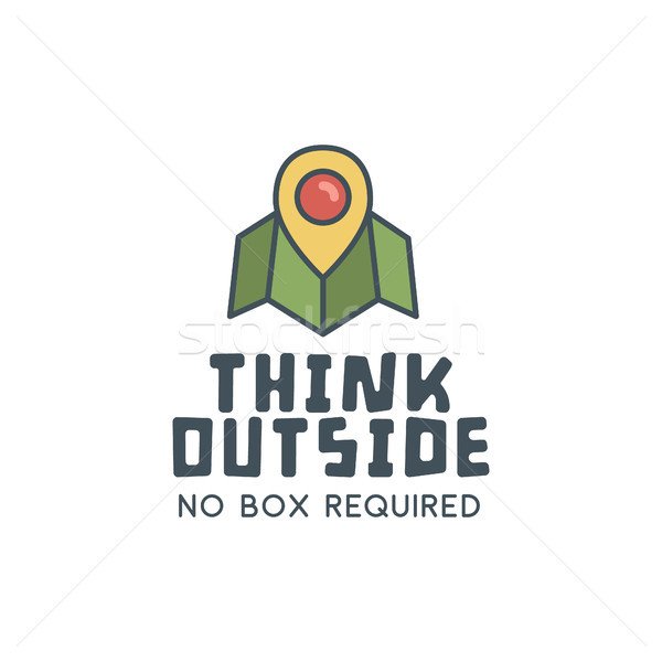 Hiking trail logo design with typography and travel elements - map, pin. text - think outside. Retro Stock photo © JeksonGraphics