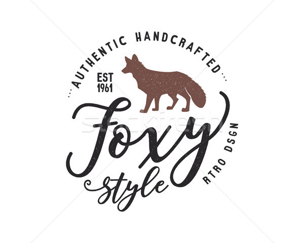 Vintage hand drawn wild animal label. Fox silhouette shape and typography elements - authentic handc Stock photo © JeksonGraphics