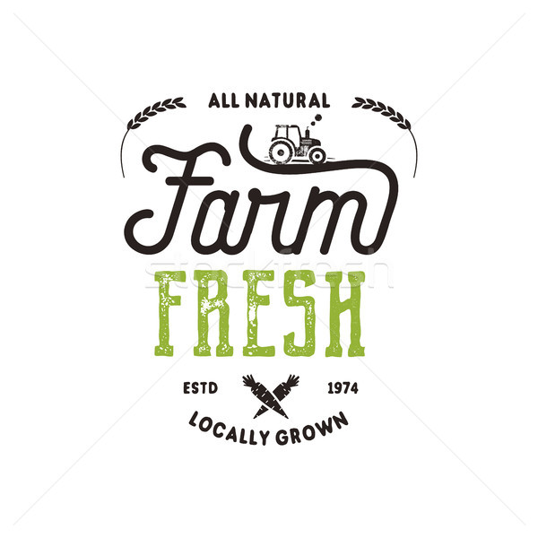 Stock photo: Farmers Market typography badge. Fresh and Local product logo template. Typographic eco farm insigni
