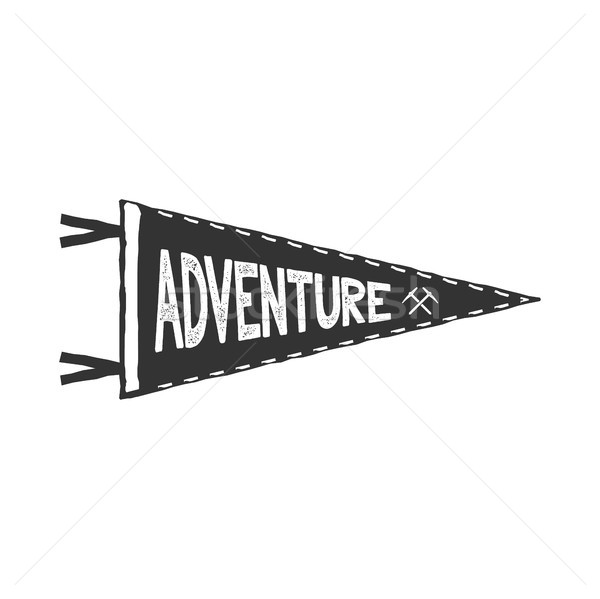 Adventure pennant design. Monochrome pendant template. Typography pennant isolated on white backgrou Stock photo © JeksonGraphics