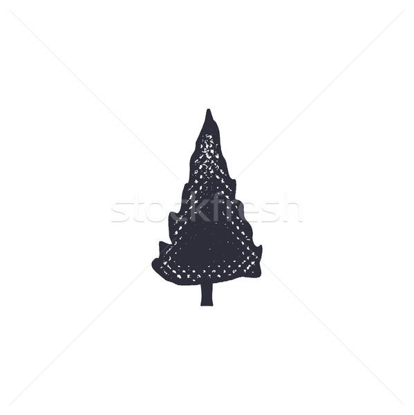 モノクロ ツリー アイコン ヴィンテージ 手描き ストックフォト © JeksonGraphics