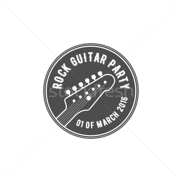 Stock photo: Rock guitar party vector label, badge, emblem logo with musical instrument. Stock vector illustratio