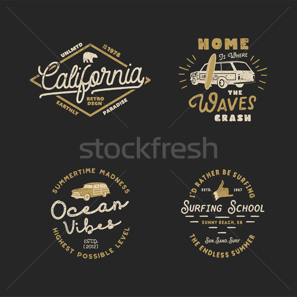 Vntage Hand Drawn Surfing Graphics and Emblems for web design or print. Surfer logotypes. Surf Logo. Stock photo © JeksonGraphics