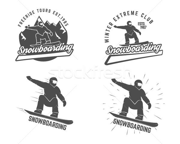 Szett snowboard logo címke sablonok elemek Stock fotó © JeksonGraphics