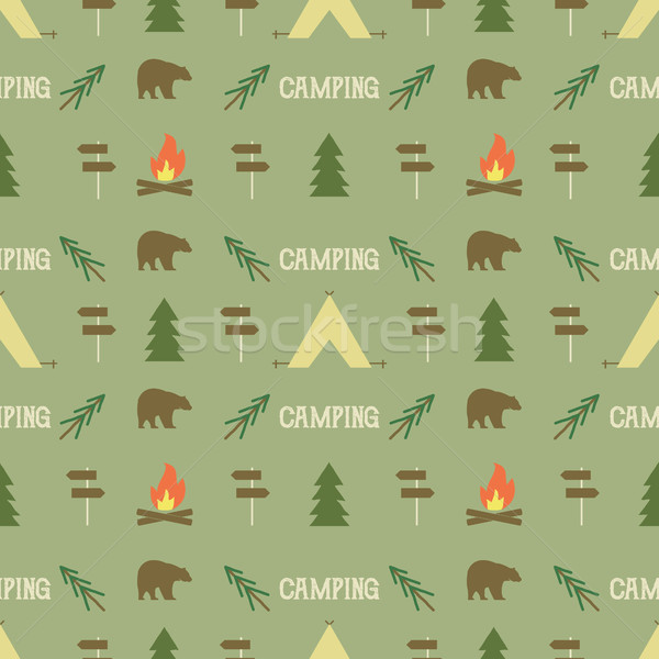 Camping elements pattern.  seamless wallpaper design. Equipment for  background  print. Adventure or Stock photo © JeksonGraphics
