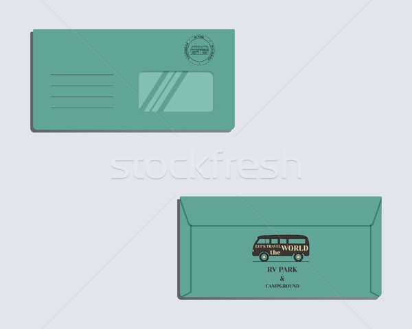 Brand identity template. Envelope. Front and back sides. Travel and Camping design with rv logo temp Stock photo © JeksonGraphics