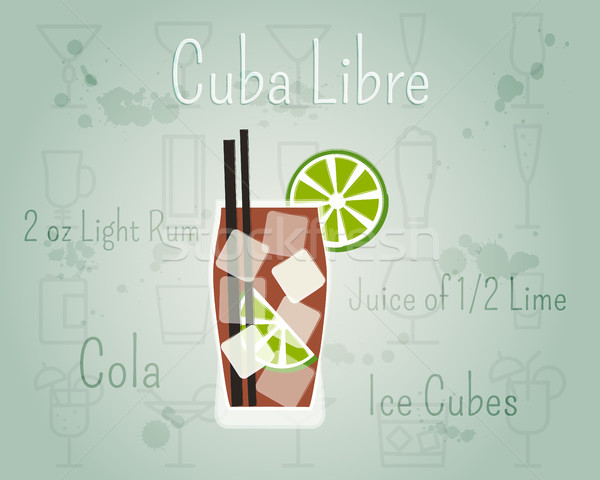 Cuba Libre Cocktail banner and poster template with ingredients. Summer stylish design. Isolated on  Stock photo © JeksonGraphics