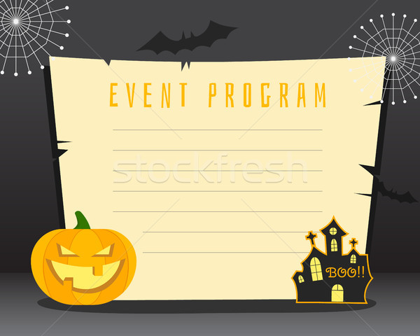 Stock photo: Halloween background with place for text. Happy halloween flyer card, poster. Dark design with pumpk